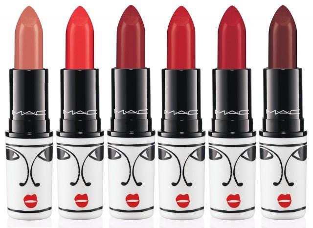 MAC Lipstick in (L-R): Oxblood, Barbeque, Victoriana, Tenor Voice, Opera & Sin