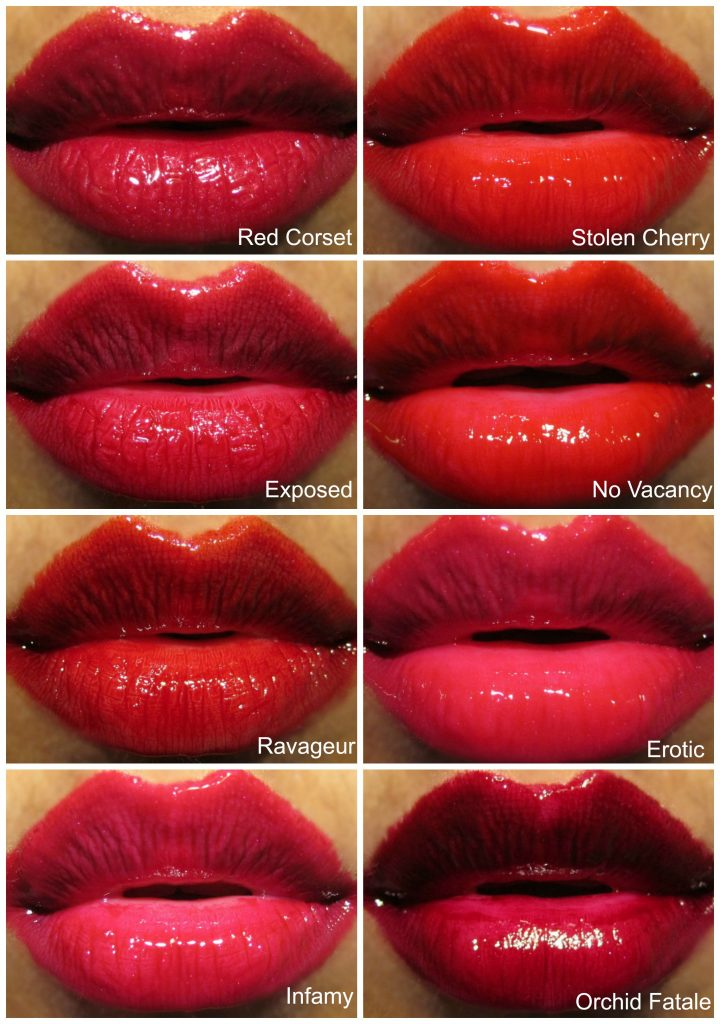 Tom Ford Patent Finish Lip Color Full collection Swatches