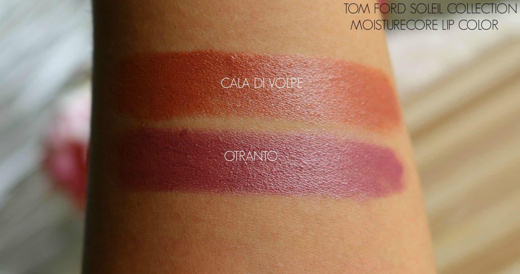 Tom Ford Soleil Collection Moisturecore Lip Colors - Otranto, Cala Di Volpe Swatches