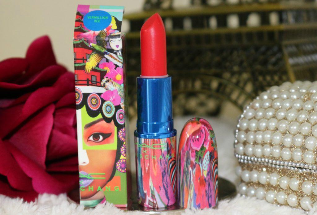 mac chris chang lipstick vermillion review