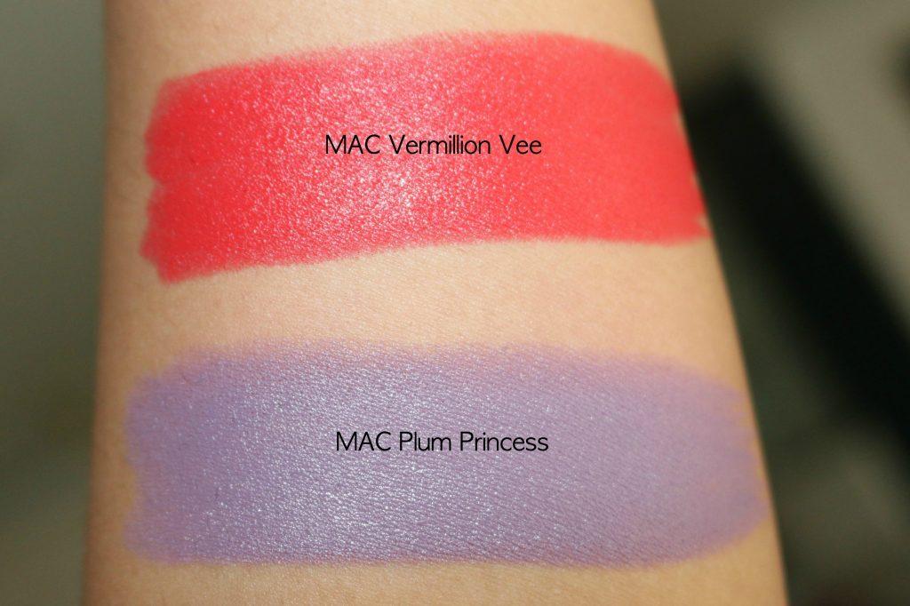 mac chris chang lipstick vermillion vee, plum princess swatches