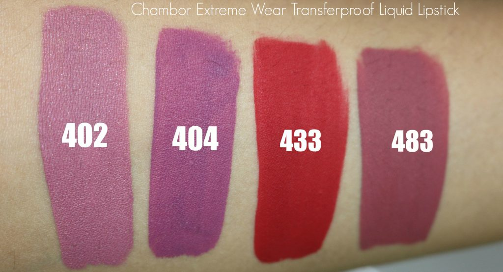 chambor extreme wear transferproof liquid lipstick swacthes