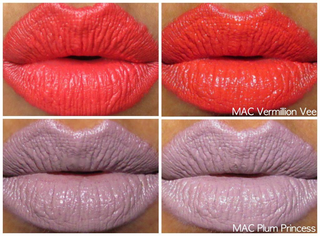 mac chris chang lipstick vermillion vee, plum princess lip swatches