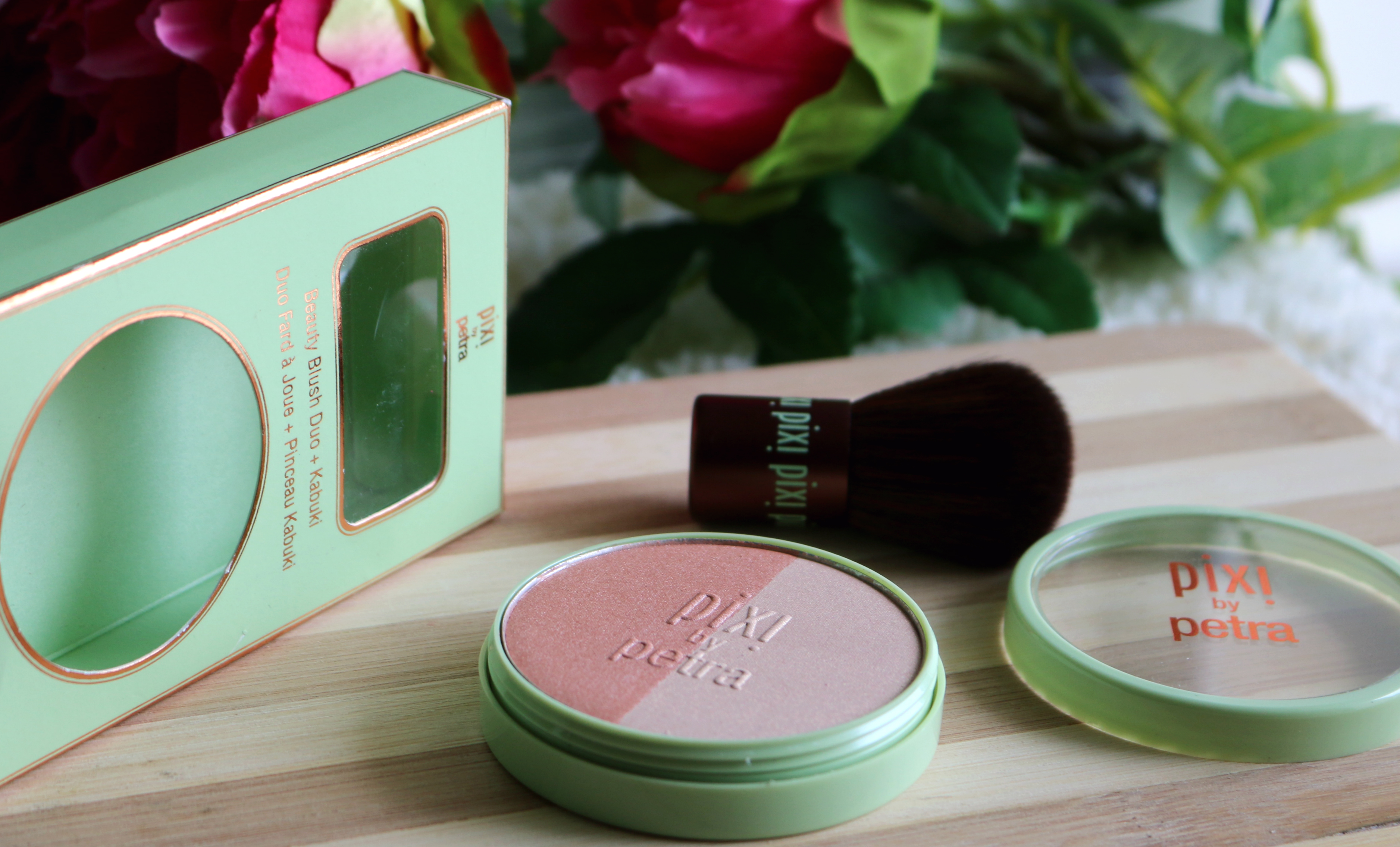 Pixi Beauty Blush Duo + Kabuki – Peach Honey