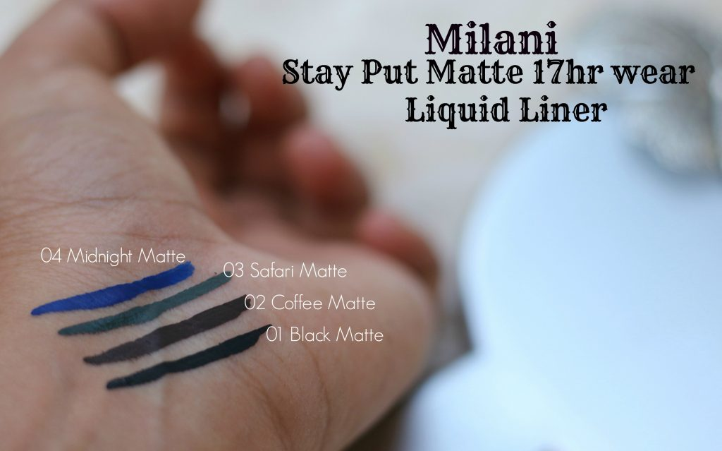 milani stay put matte 17hr wear liquid eyeliner swatches