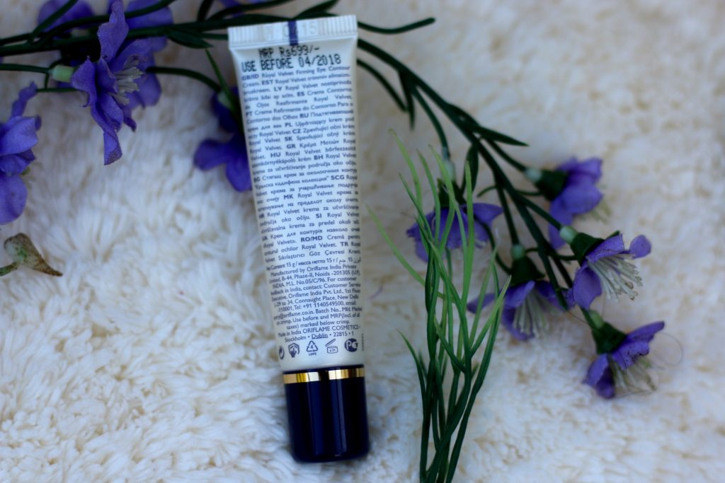 oriflame royal velvet firming eye contour cream price