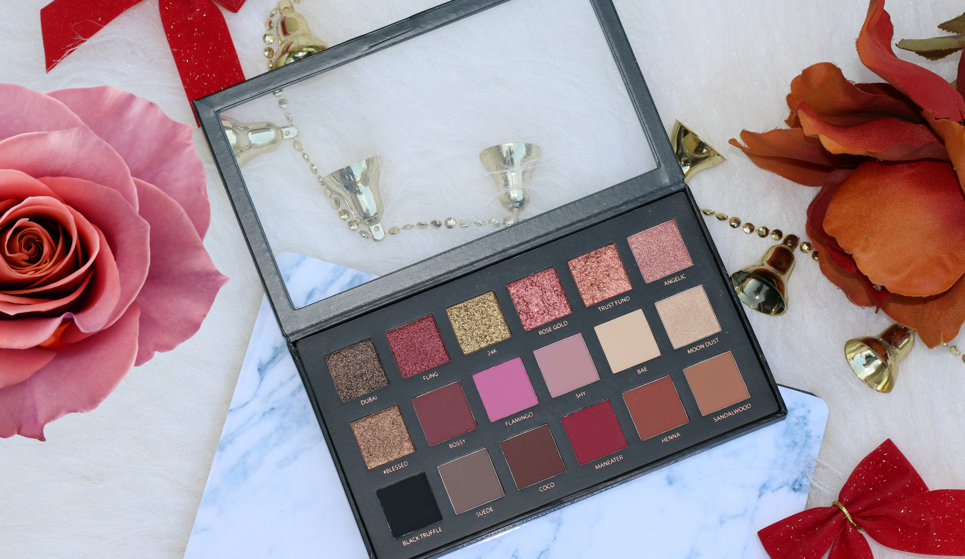 Count Down to Christmas – Huda Beauty Rose Gold Edition  Eyeshadow Palette | Review, Swatches & FOTD