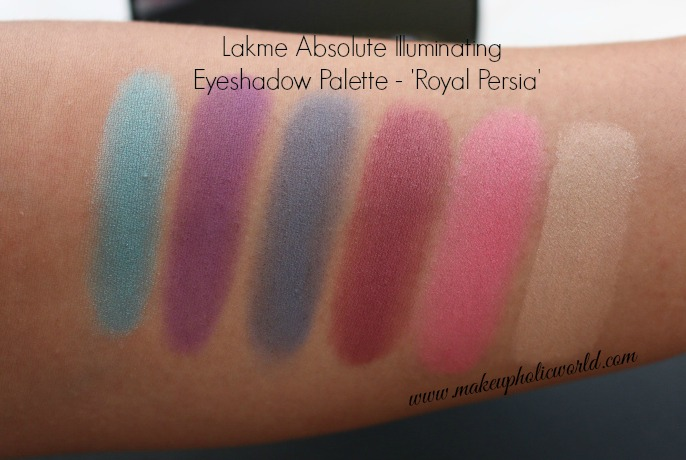 Swatches - Lakme Absolute Illuminating Eyeshadow Palette - Royal Persia