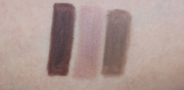 swatches of Jordana Cosmetics Fabubrow Eyebrow Pencil - dark brown.soft brown, light taupe