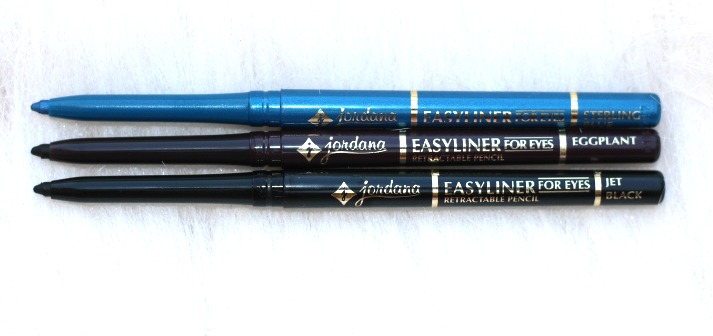 jordana cosmetics easyliner for eyes - jet black, blue sterling, eggplant review
