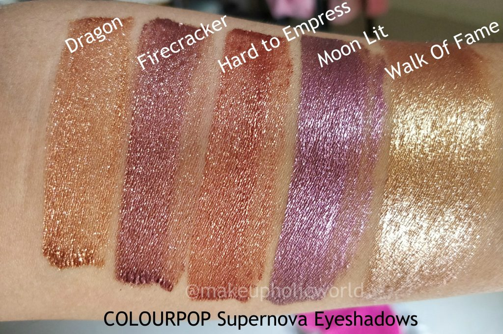 supernova shadows colourpop review, colourpop metallic eyeshadows, colourpop metal eye shadows review, liquid eyeshadows, dupe pf stila glitter & glow liquid eye shadow, glitter eye shadow, hard to empress supernova shadow, moon lit supernova shadow, dragon supernova shadow, walk of fame supernova shadow, fire cracker supernova shadow, metallic eyeshadow, super nova liquid shadows, super nova liquid shadows review, colourpop super nova liquid eye shadows swatches, buy colourpop eyeshadow, best liquid eye shadow, buy colourpop in india, opaque metallic liquid eye shadow, metallic glitter shadows,